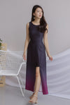 Costanza Ombre Slit Front Maxi Dress In Black/Purple