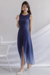 Costanza Ombre Slit Front Maxi Dress In Navy/Blue