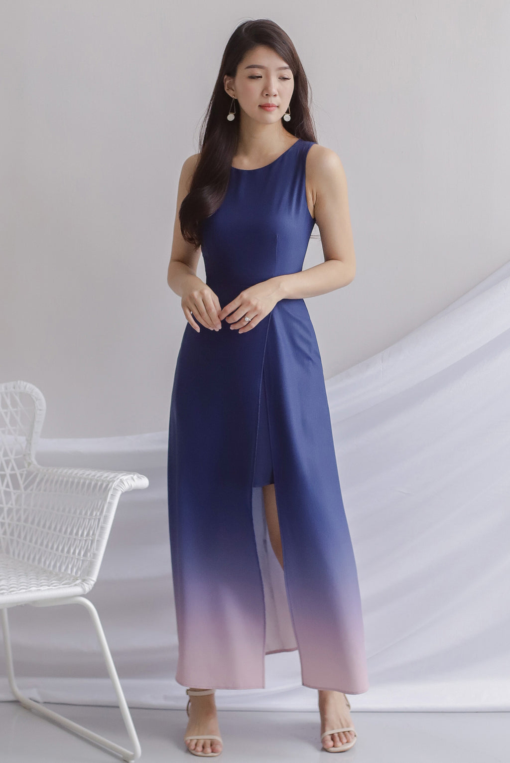 Costanza Ombre Slit Front Maxi Dress In Navy/Pink