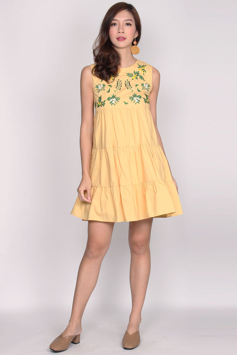 Coulby Embriodery Babydoll Dress In Yellow
