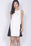 Cova Mono Block Trapeze Dress In White