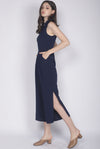 Crane Removable Oriental Collar Jumpsuit In Navy Blue