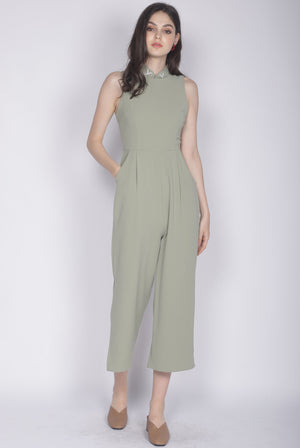 Crane Removable Oriental Collar Jumpsuit In Sage