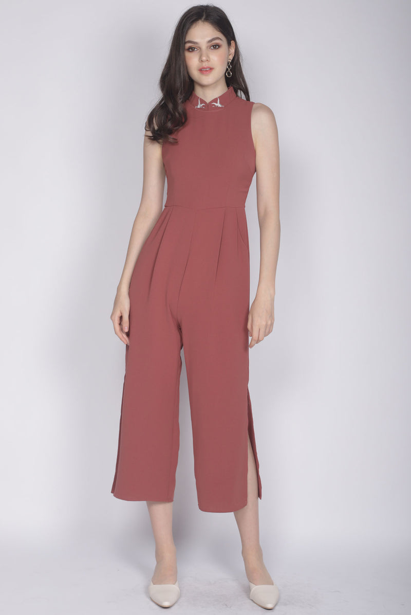 Crane Removable Oriental Collar Jumpsuit In Tea Rose