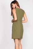Crescent Pockets Dress In Olive