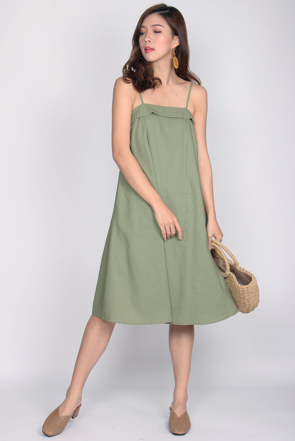 *Restock* Cydine Linen Tent Dress In Green