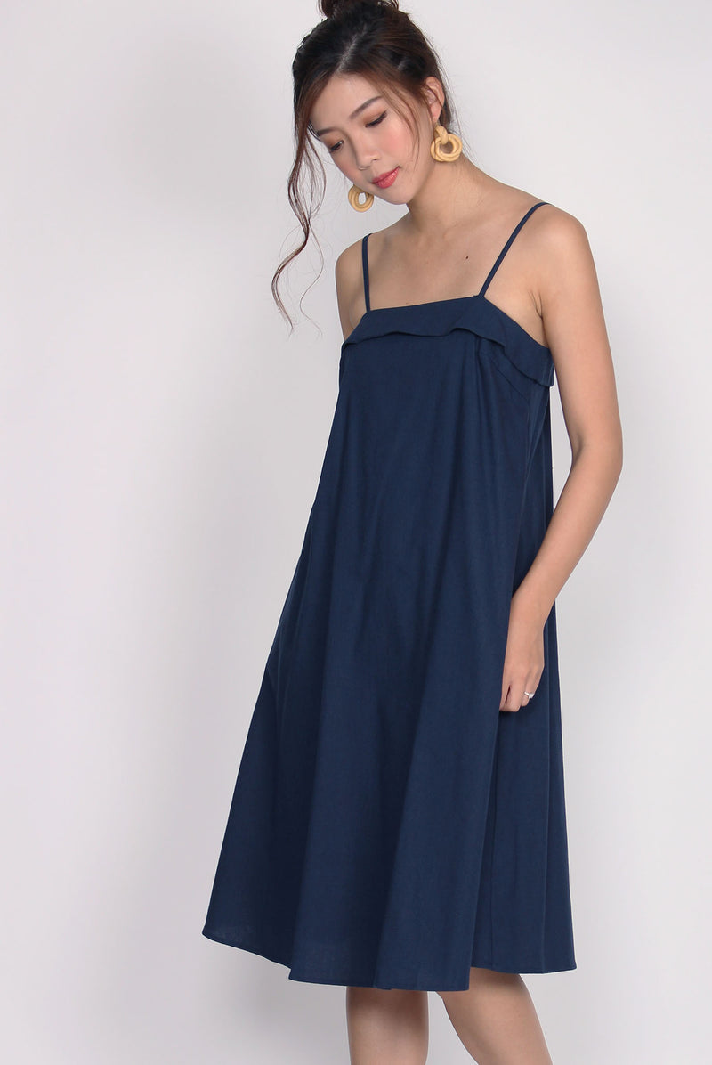 Cydine Linen Tent Dress In Navy Blue