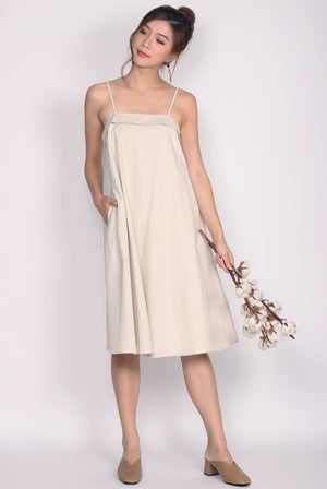 Cydine Linen Tent Dress In Wheat