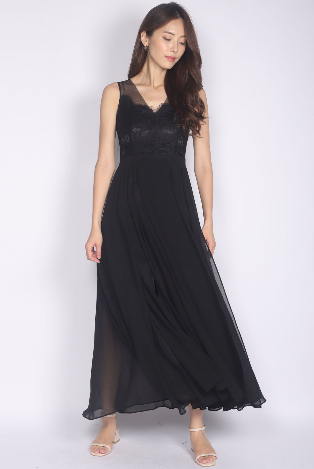 *Premium* Daenerys Lace Slit Maxi Dress In Black