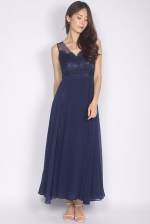 *Premium* Daenerys Lace Slit Maxi Dress In Navy Blue