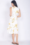 Daffodil Yellow Floral Drop Waist Dress In White
