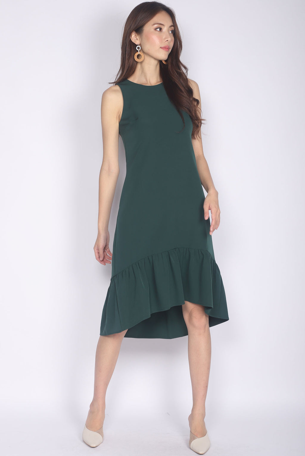 Dagny Hi-low Drop Hem Midi Dress In Forest Green
