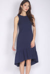 Dagny Hi-low Drop Hem Midi Dress In Navy Blue