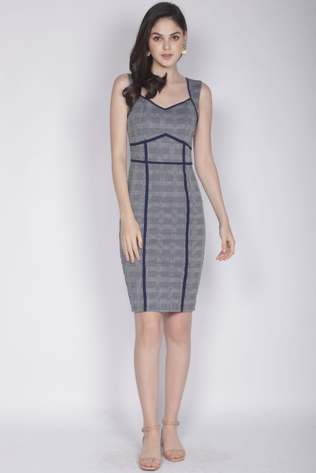 *Premium* Dalisay Plaids Pencil Dress In Navy Blue
