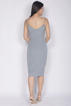 Dallis Rope Strap Dress In Ash Blue