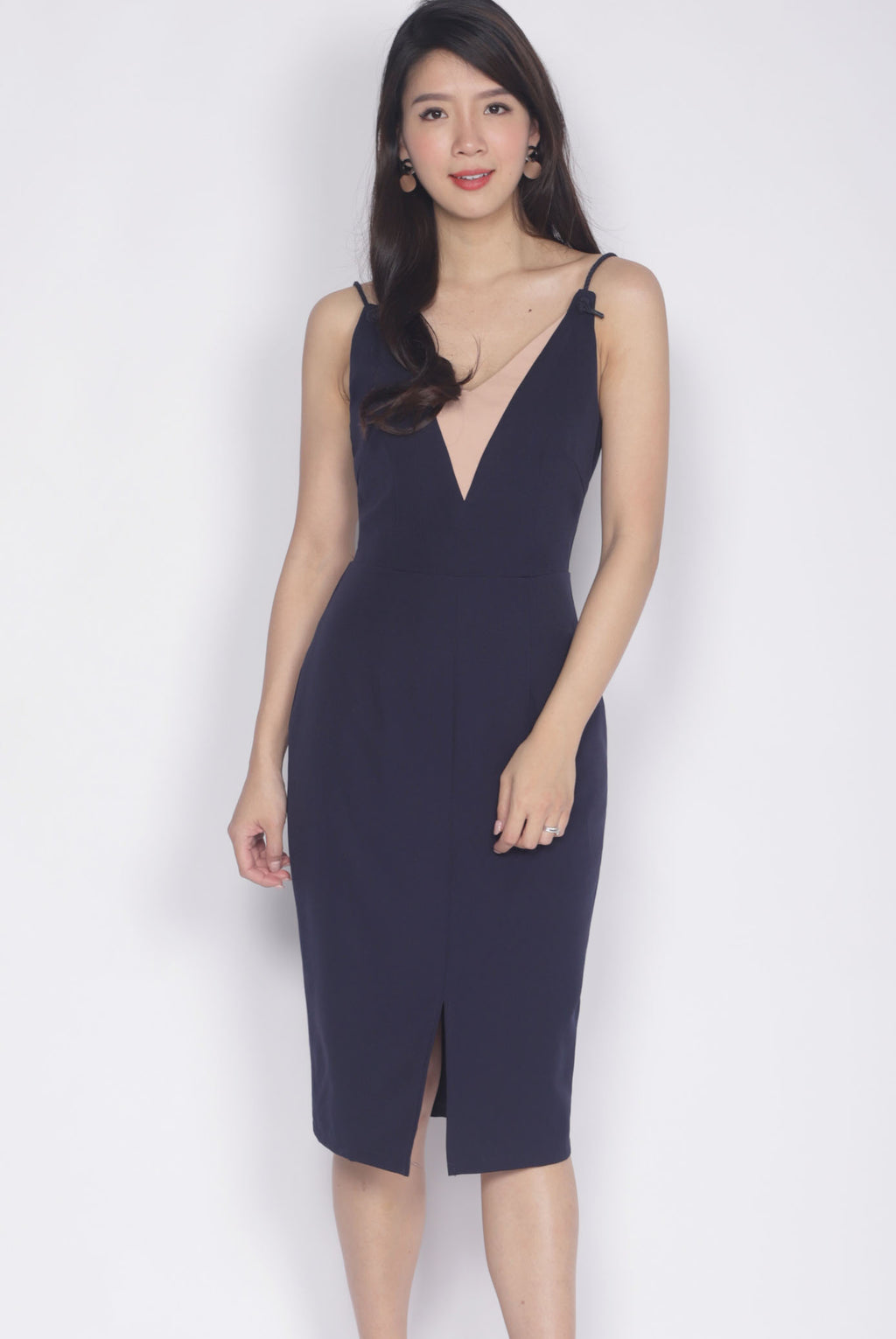 Dallis Rope Strap Dress In Navy Blue