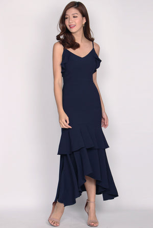 Damris Backdrop Maxi Dress In Navy Blue