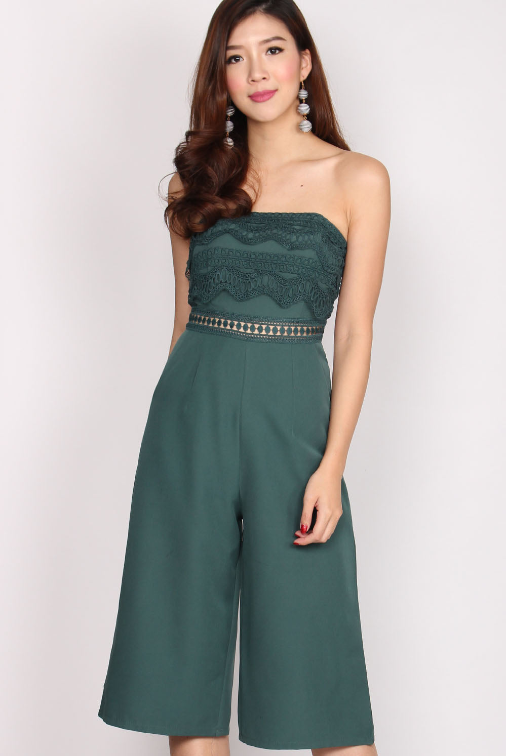 Danette Tier Lace Tube Jumpsuit In Green