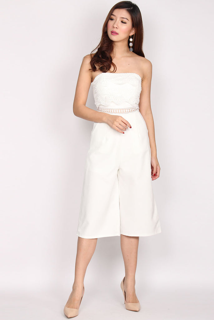 Danette Tier Lace Tube Jumpsuit In White