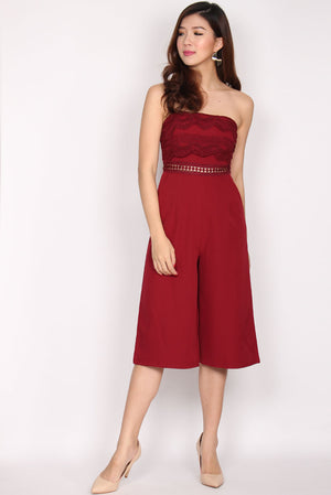 Danette Tier Lace Tube Jumpsuit In Wine Red