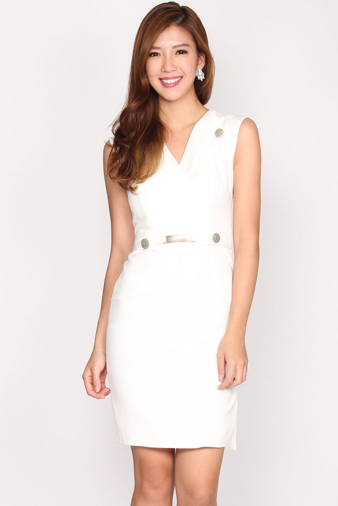 Daniella Trench Work Dress In White