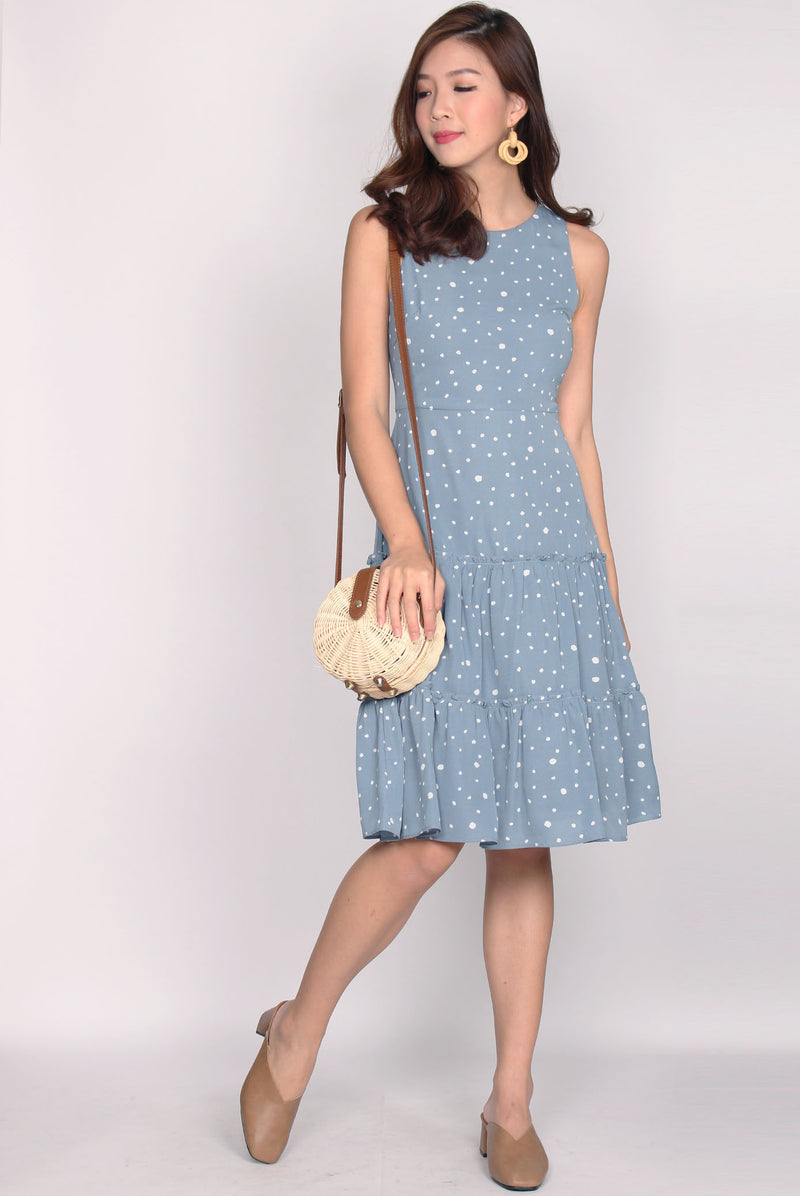 Darchelle Ruffles Tiered Dress In Blue Dots