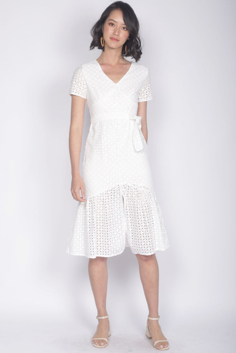 Darletta Eyelet Buttons Dress In White