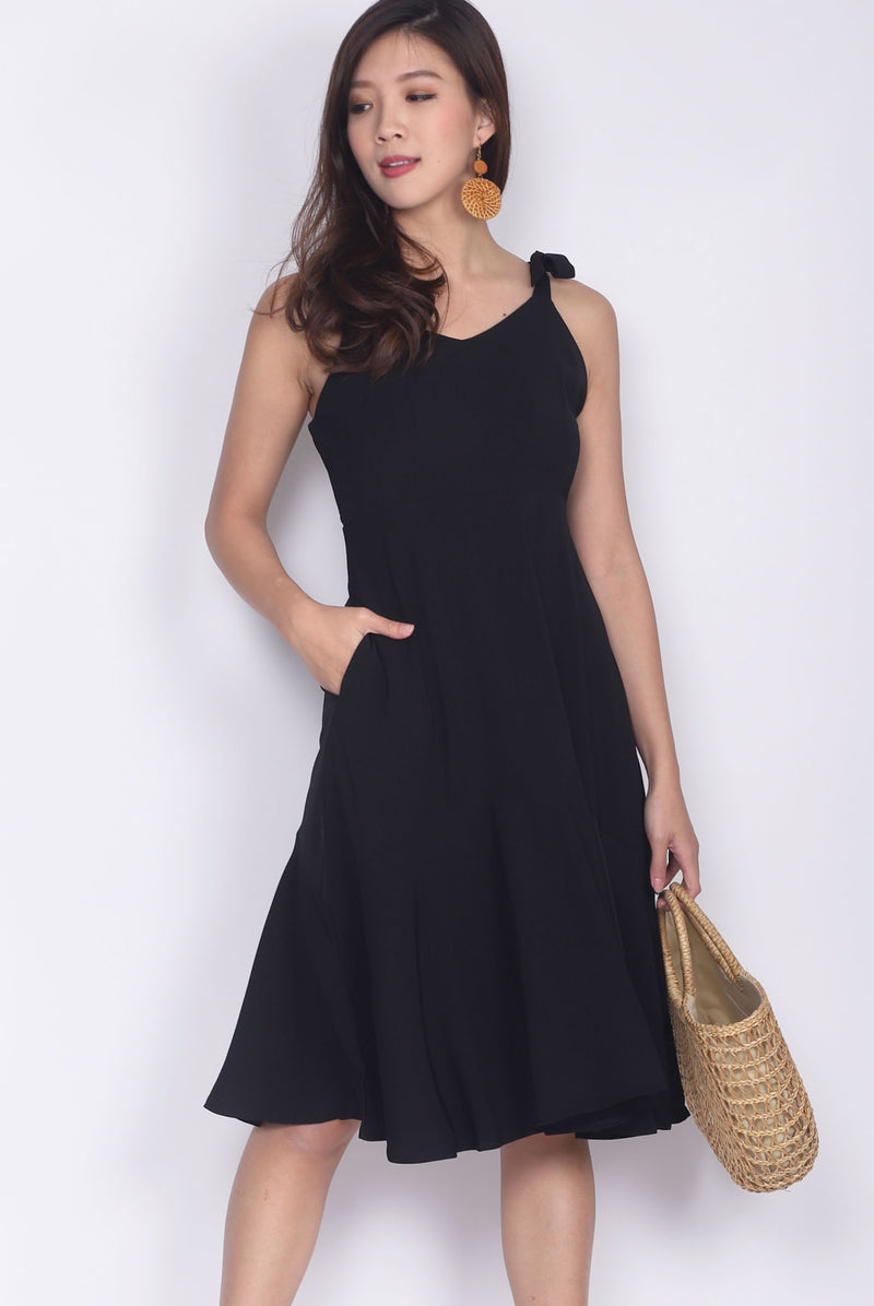 Darley Tie Shoulder Dress In Black