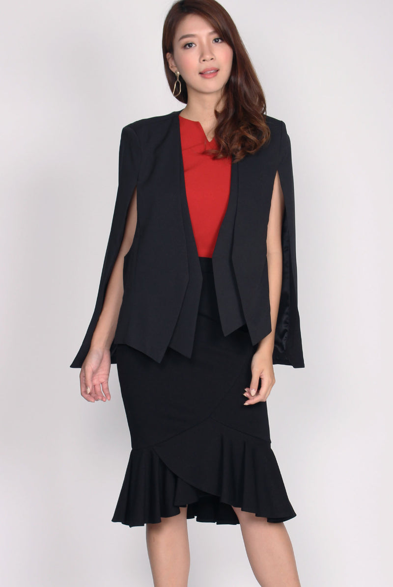 *Premium* Deanna Cape Blazer In Black