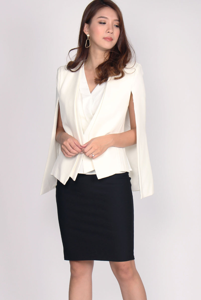 *Premium* Deanna Cape Blazer In White