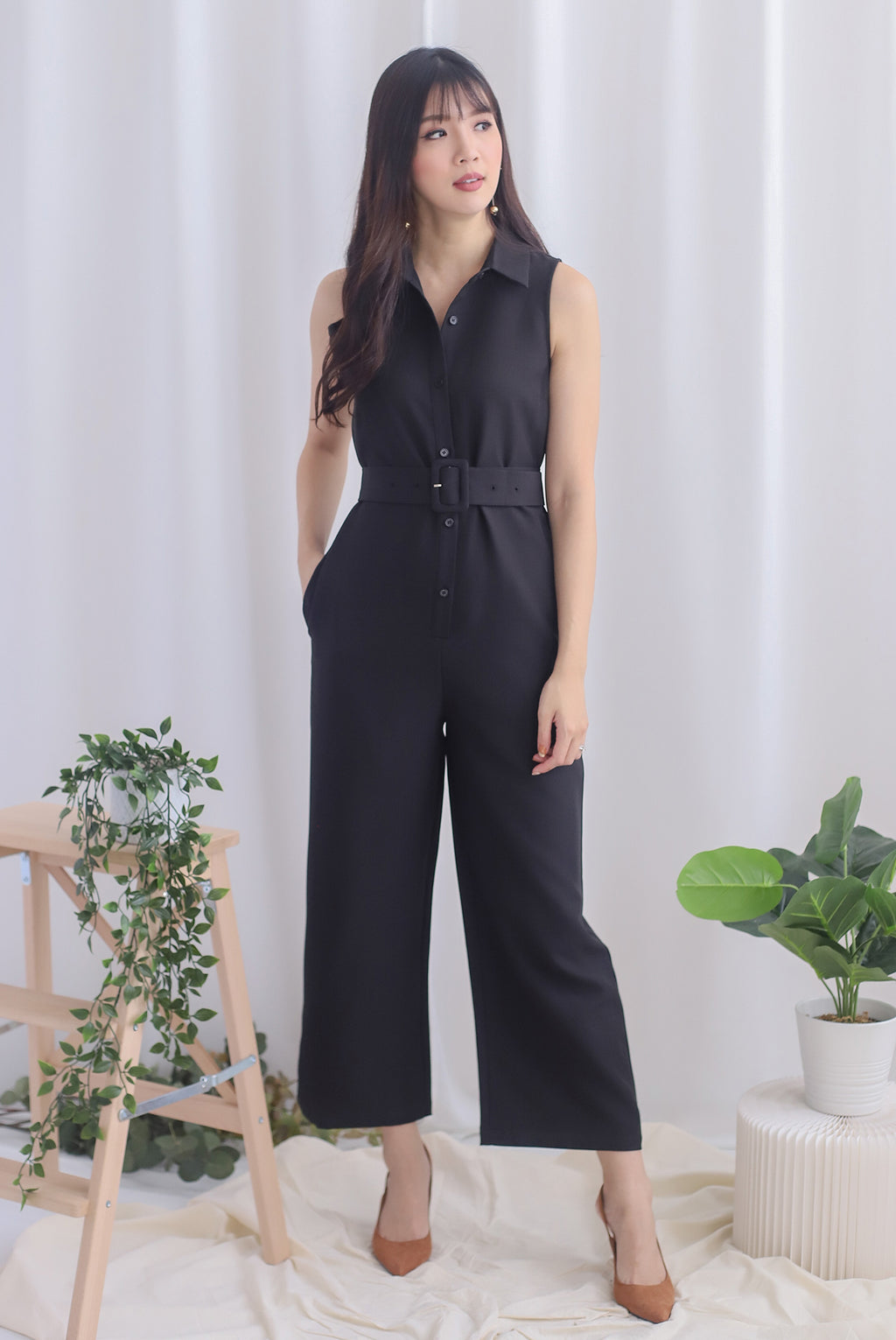 Debbi Buttons Shirt Jumpsuit In Black