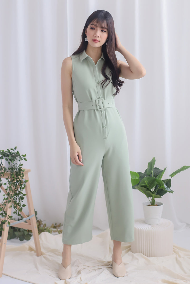 Debbi Buttons Shirt Jumpsuit In Sage