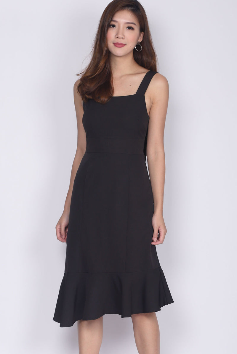 Debbie Asymm Drop Hem Dress In Black
