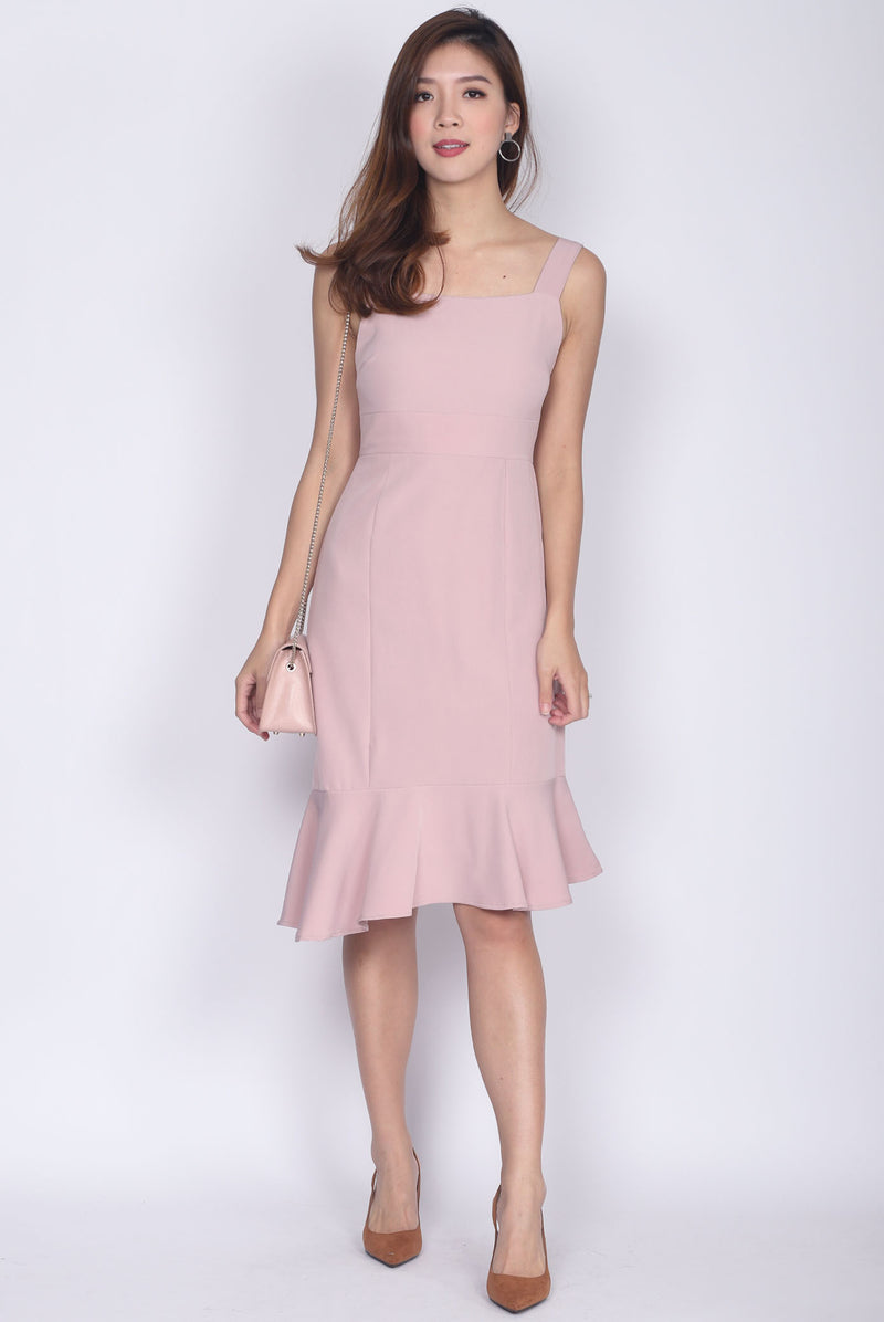 Debbie Asymm Drop Hem Dress In Blush