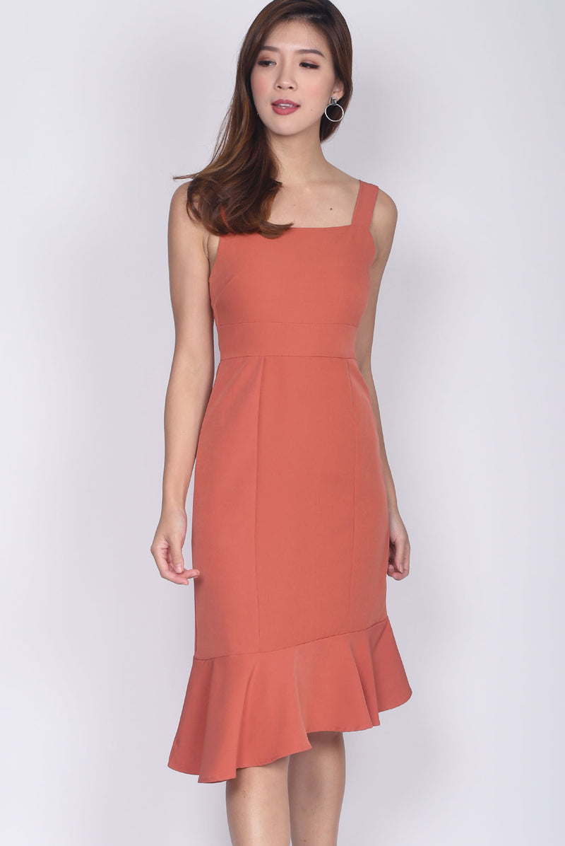 Debbie Asymm Drop Hem Dress In Orange