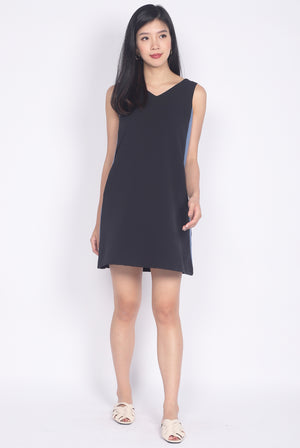 Delaney Tie Back Colour Block Dress In Black/Blue