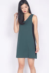 Delaney Tie Back Colour Block Dress In Forest Green/Black