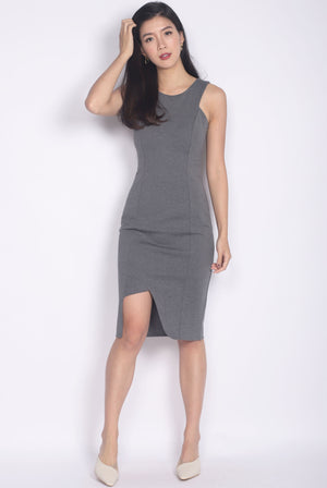 Delfine Cut Out Slit Dress In Grey