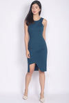 Delfine Cut Out Slit Dress In Teal