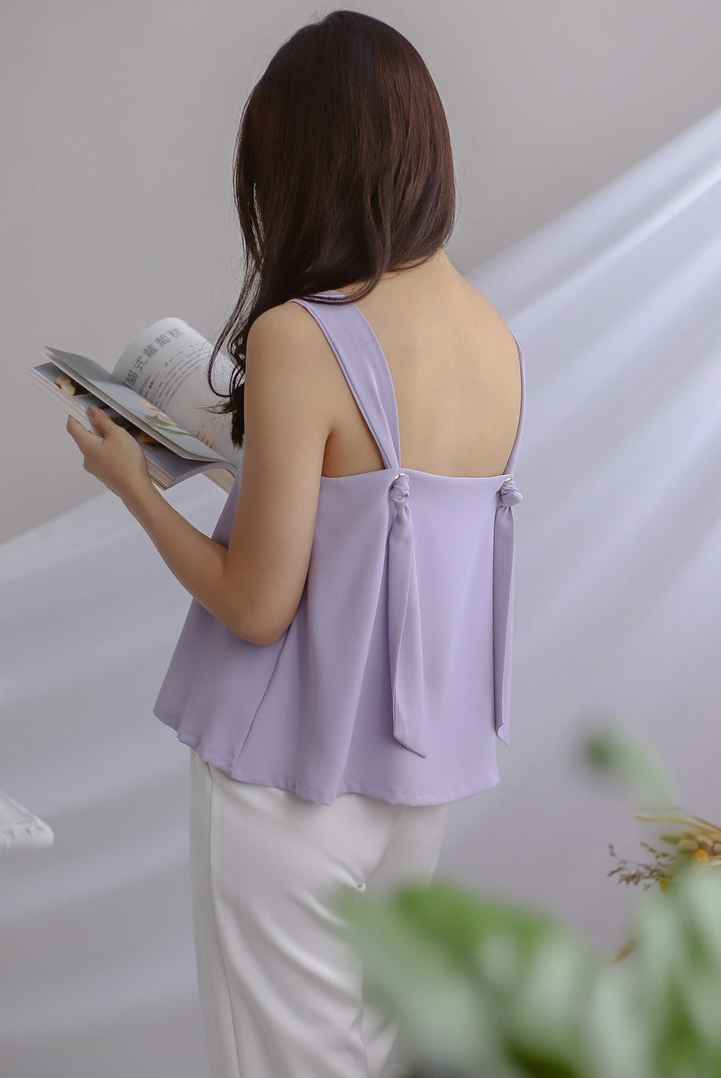 *Restocked* Della Knot Back Top In Lilac