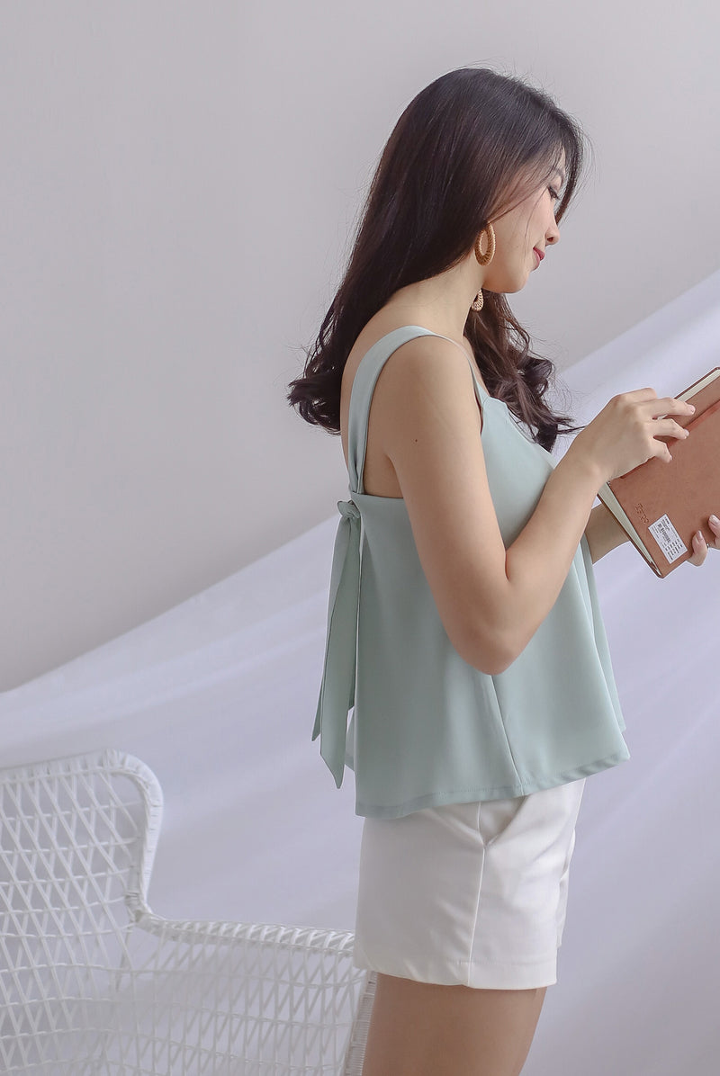 *Restocked* Della Knot Back Top In Sage