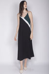 Delois Colour Block Maxi Dress In Forest/Black