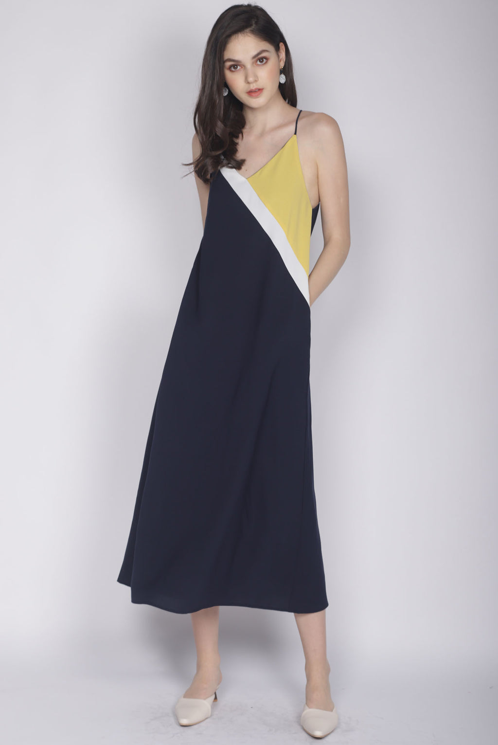 Delois Colour Block Maxi Dress In Mustard/Navy