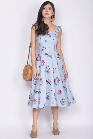 Deloris Ruffle Strap Dress In Blue Floral