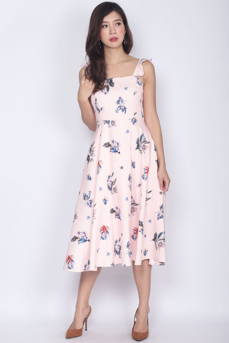 Deloris Ruffle Strap Dress In Pink Floral