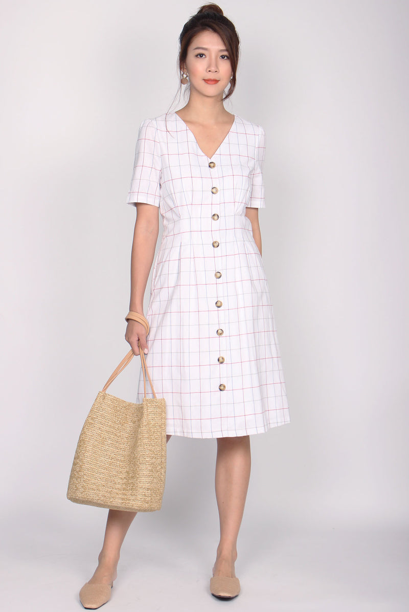Delphine Colour Grid Sleeve Linen Dress