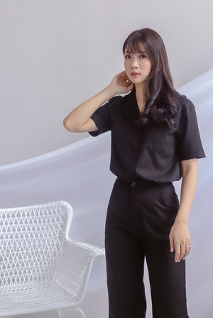 Denielle Linen Buttons Shirt In Black
