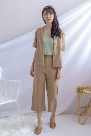 Denielle Linen Buttons Shirt In Camel
