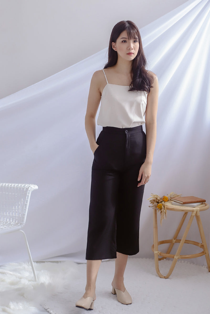 Denielle Linen Culottes In Black