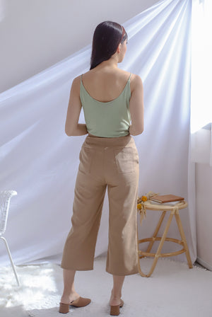 Denielle Linen Culottes In Camel
